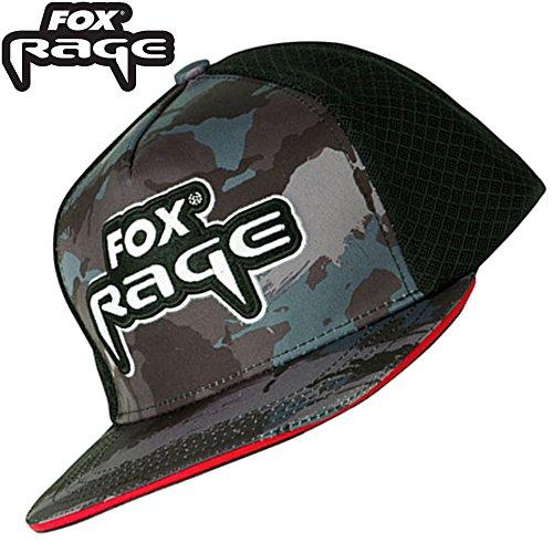 Fox Rage Camo flat peak trucker cap - Angelcap für Raubfischangler, Cappy, Schirmmütze für Angler, Angelmütze für Spinnangler