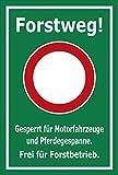 Schild - Forstweg - Gesperrt - Frei für Forstbetrieb – 45x30cm mit Bohrlöchern   stabile 3mm starke Aluminiumverbundplatte – S00359-028-E +++ in 20 Varianten erhältlich