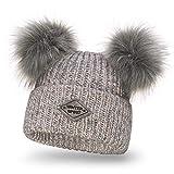 Solvera_Ltd Damen Strickmütze Wintermütze mit Zwei Bommel Beanies Bommelmütze Pudelmütze Winter Hüte für Frauen Mädchen (Grau)