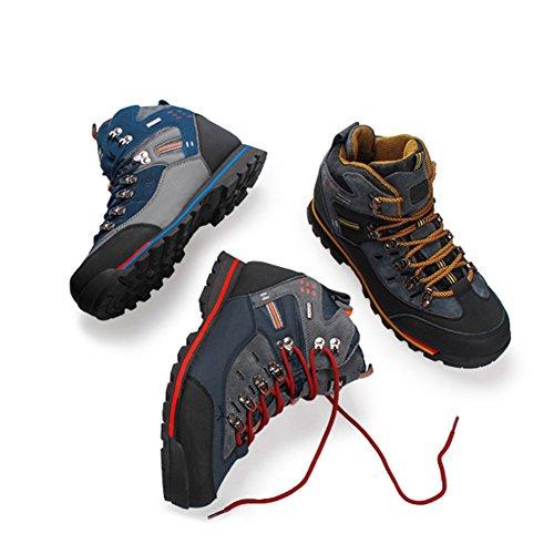 yeshi Herren Outdoor Trekking Wandern Stiefel, wasserdicht, anti-rutsch Schuhe, Black + Yellow
