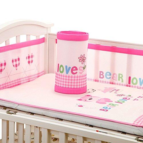 Baby Breathable Mesh Crib Liner Bettwäsche Stoßstange, 4-Seiten Abdeckung, vier Jahreszeiten, Anti-Collision Bettwäsche-Kit,...