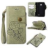 pinlu® PU Leder Etui Schutzhülle Für Nokia Lumia 630 Hülle Flip Case Mit Stand Function und Magnetische Schnalle Innenschlitzen Design Retro Rose Muster Hellgrün