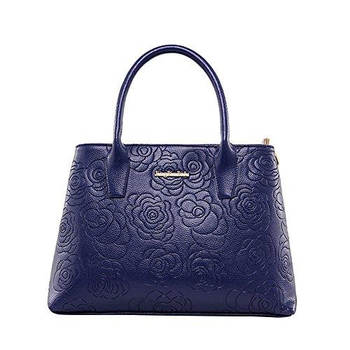WTUS Damen Neue Welle Weibliche Beutel Auf Einfache Weise Wilden Pakets Geprägte Handschulter Handtasche Blau