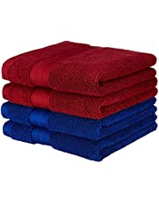 Amazon Brand - Solimo 100% Cotton 4 Piece Hand Towel Set, 575 GSM (Brick Red and Navy Blue)