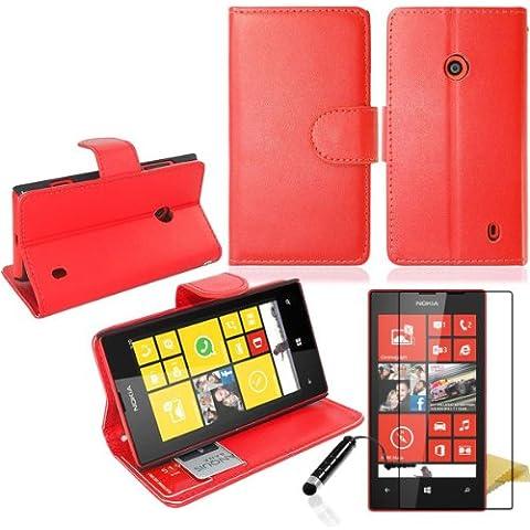 JJOnline - Rosso per Nokia Lumia 520 Side portafogli Pelle