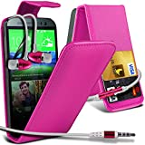 ( Hot Pink ) HTC One M8 Protective Faux Kredit / Debit-Karten-Slot Leder Flip Case Hülle & LCD-Display Schutzfolie & Aluminium In-Ear-Ohrhörer Stereo-Ohrhörer mit Hands Free Mic & On-Off-Taste Einbau by ONX3