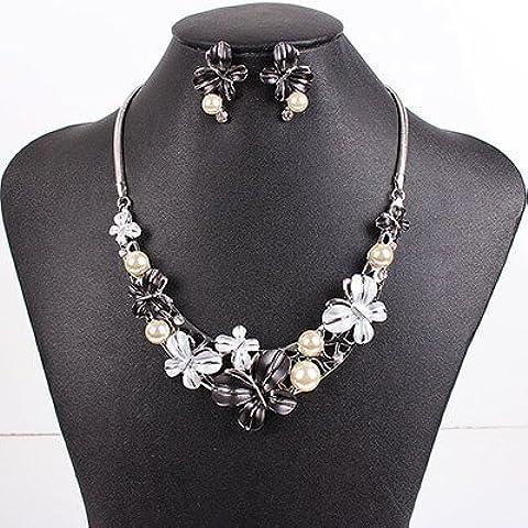 Gioielli Epyen (TM) di marca di modo regola la collana brillante farfalla colori di nozze I monili 2014 nuova di alta qualit¨¤ - Nero Monili Di Nozze Insieme