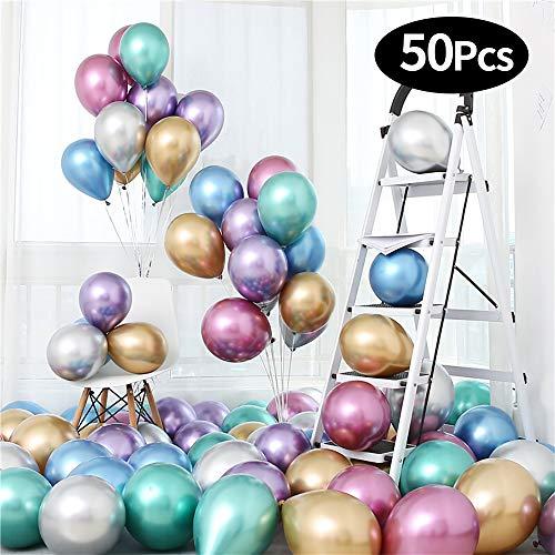 mreechan Luftballons Metallic,50 Stück Luftballons Bunt Satz von Helium Luftballons Metallicfarben,Luftballons Blinkendes für Hochzeit Party/Geburtstag/Festival/Weihnachten Dekoration mit Bunte Ballon