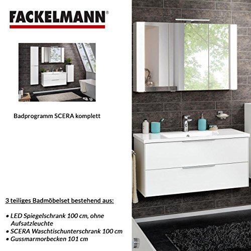 Fackelmann Badmöbel Set Scera 3-tlg. 100 cm weiß mit Waschtischunterschrank mit Gussmarmorbecken & LED Spiegelschrank