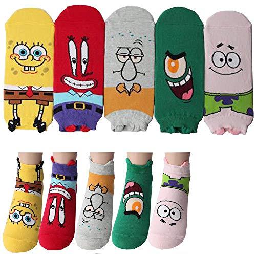 Spongebob Schwammkopf Charakter Knöchel Socken mit Beutel Packung mit 5 Paaren - Thaddäus Tentakel, Mr. Krabs, Patrick Star, Plankton, Squidward Tentacles, SpongeBob SquarePants Sneakersocken