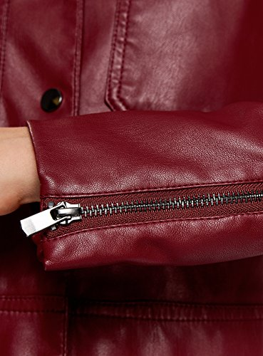 oodji Ultra Damen Kunstleder-Jacke mit Brusttaschen Rot (4900N)