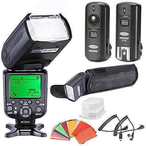 Neewer® * Sincronización de alta velocidad * i-TTL Cámara Maestra / Esclava Kit de flash para D4S D4 D3S D800 D700 D80 D90 D7000 D7100 D50 D40X D60 D5000 D5100 D5200 D5300 D40 D3000 D3100 D3200 D3300 de Nikon y otras cámaras reflexivas digitales de Nikon, incluye: (1 ) NW9852N-II Flash, (1) Difusor, (1) 3-en-1 2.4Ghz disparador de flash inalámbrico, (1) Set de 35 Filtros de gel de color, (1) Caja lujosa de flash, (2) Cables (C1-Cuerda + C3-Cuerda)