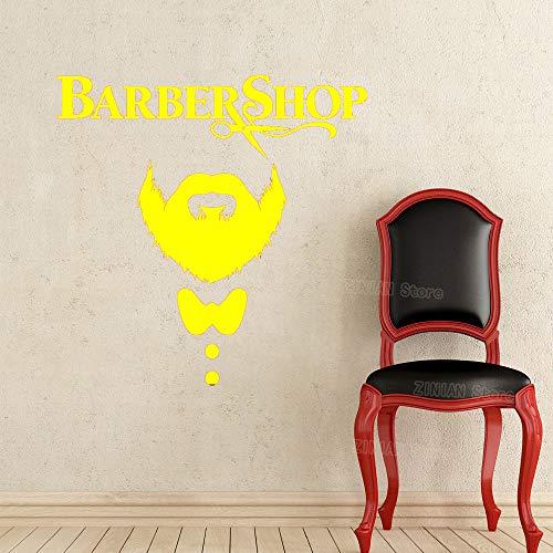 Friseur Wandtattoo Friseursalon Vinyl Aufkleber Decals Beauty Haarschnitt Männer Schnurrbart Schere Fenster Kunst Dekor Wandbild gelb 56X56 cm