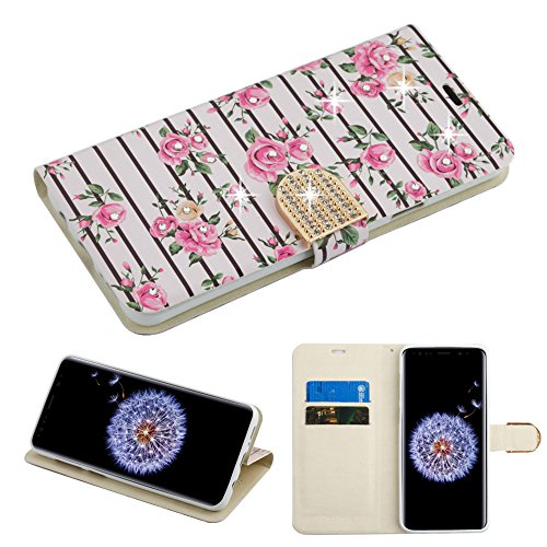 Fall + Stylus Pu Leder Wallet für Samsung Galaxy S9 Plus g9644 MYBAT MyJacket Wallet Rosa Fresh Roses mit Strass & mit Gürtel (Cell Samsung Cricket Phones Note)