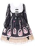 JSK-20-3 Schwarz Eichhörnchen Cute Pastel Goth Lolita Langarm Kleid Cosplay Kostüm Harajuku