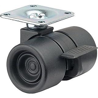 BS Rollen Design-Kunststoffdoppel-Lenkrolle mit Feststeller, Anschraubplatte, Kunststoffrad, 38 mm, schwarz, F391.038