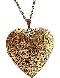 TR. OD Bronce Corazón tallada flores fotos camafeo colgante largo cadena collar regalo del día de San Valentín