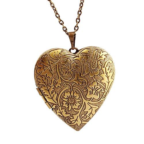 TR. Od Bronze coeur love Fleurs sculpté Cadre photo médaillon pendentif longue chaîne collier cadeau Saint Valentin