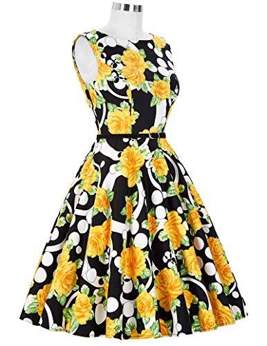 GRACE KARIN 1950s Audrey Rockabilly Robe de Cocktail Rétro Imprimée Sans Manche Floral-38