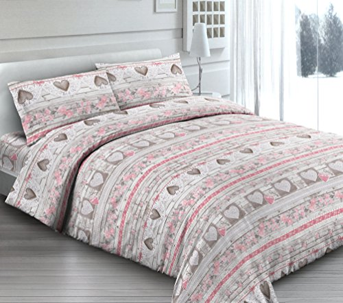 Housse de couette avec taie d'oreiller pour lit simple shabby Love Cœurs Cœur Rose - Sac couette idée cadeau Produit italien - Fabriqué en Italie