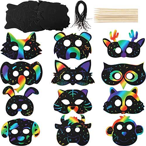 36 Sets Kratzpapier Tier Masken Kratz Regenbogen Masken mit Elastischen Kordeln und Holzstift für Kostüm Party Dekorationen
