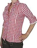 zauberhafte Landhaus Trachten Bluse WILMA in 3 knackigen Farbkombinationen, Größen:54;Farben:rot/orange