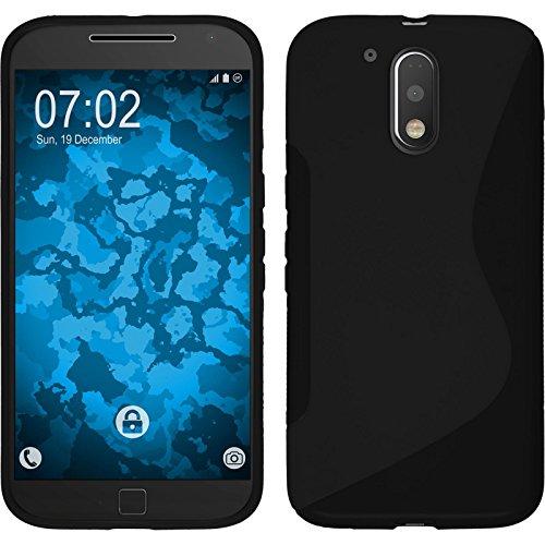PhoneNatic Case kompatibel mit Motorola Moto G4 Plus - schwarz Silikon Hülle S-Style + 2 Schutzfolien