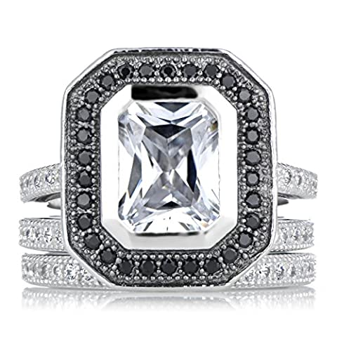 Cubic Zirconia Wedding Ring Set with Black Halo