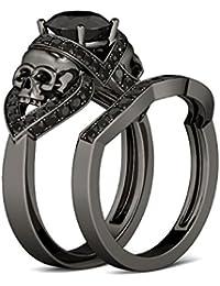 Silvernshine 10K Black Gold FN 2.71Cttw Round Cut Black CZ Diamonds Skull Fashion Ring Bridal Set