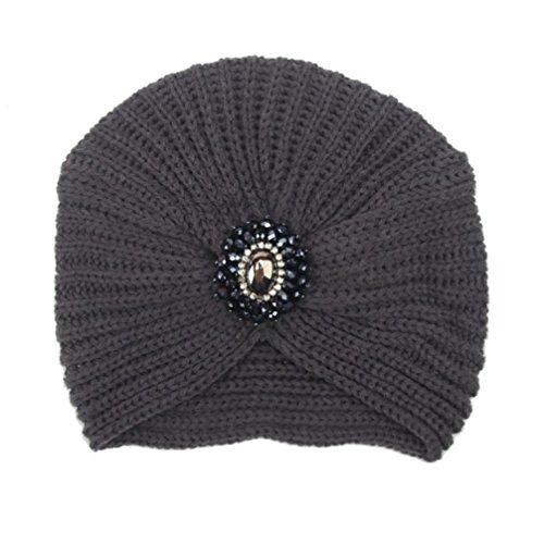 Saingace Mode Kappe Art- und Weisefrauen-Winter-warme Strick-Häkelarbeit-Ski-Hut-umsponnene Turban-Kopfschmuck-Kappe (Dunkelgrau) (Nerz Kappe Pelz)