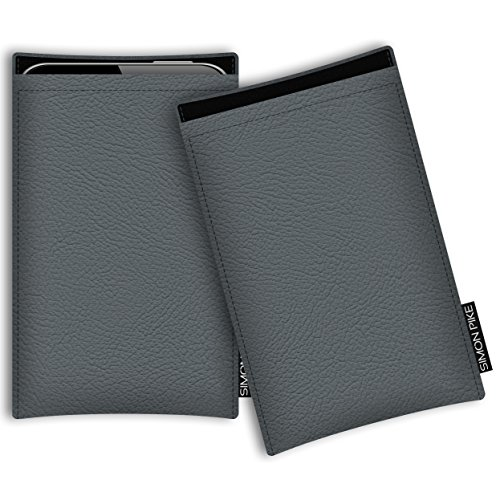 SIMON PIKE Kunstleder Tasche Boston, kompatibel mit Siswoo R9 DarkMoon, in 01 grau Kunstleder