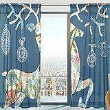 Mnsruu Voilage Rideaux Voilage Ethnique Cerf Voilage Doux Voilage pour Chambre Salon 140 x 213 cm 2 Panneaux