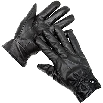 Ladies Boxed Black Seamed Leather Gloves With Studded Cuff And Fleece Lining S/M