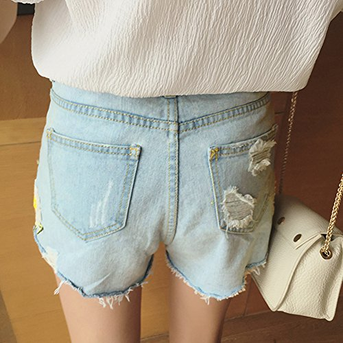 432d39e6617c24 ... iBaste Jeanshose Shorts Damen High Waist Denim Shorts Kurze Hose  Hotpants damen Jeans Hose Hell Blau