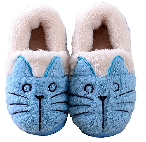 Summer Mae Femme Chaussons Dessin Chat Super Chaud - Bleu - Taille 38/39 EU