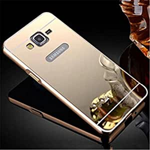 AE MOBILE ACCESSORIES AE Luxury Metal Bumper + Acrylic Mirror Back Cover Case For SAMSUNG GALAXY A8 GOLD PLATED (Silver)