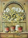Artland Poster Kunstdruck aufgezogen auf Holz-Platte Wand-Bild Fabrice de Villeneuve Zitronen und Porzellan Stillleben Vasen & Töpfe Malerei Gelb 79 x 59 x 1,2 cm A7UU