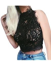 ESAILQ Damen T-Shirt Armelloses Top Frauen Verstellbare Schultergurte Runden Hals Leibchen Crop Top XL,Rosa