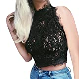 OSYARD Damen Ärmellose Casual Spitze Crop Tops Bluse Sommer Party Weste Top Solide T-Shirt(EU 40 / M, Schwarz)
