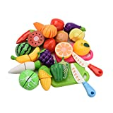 LianLe 20 Set Küchenspielzeug Kinder Obst Gemüse Pädagogisch Rollenspiele Spielzeug mit Schneid Schneidebretter