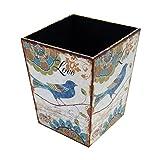 Mobili Rebecca® Papierkorb Kinder Abfalleimer Mdf Canvas Weiß Blau Romantisch