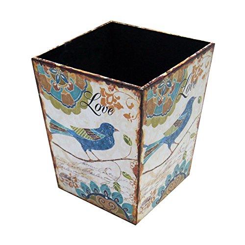 Rebecca Mobili MobiliRebecca® Poubelle de Bureau Corbeille pour Chambre Blanc Jaune MDF Canvas Design Vintage Chambre (Cod. RE4839)