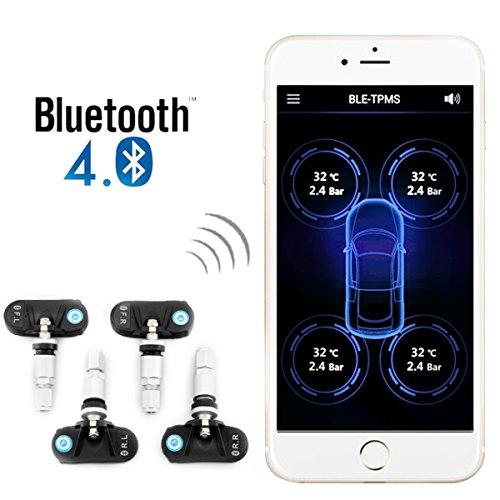 Preisvergleich Produktbild lmystar Reifendruckkontrollsystem TPMS-App Wireless Bluetooth 4.0 integriertem Reifendruck Auto Alarm Sensor