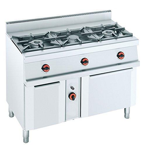 Macfrin S3SB Cocina a Gas de 3 Fuegos, Armario y Horno Con...