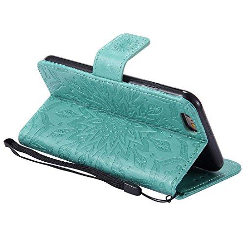 Yaking® Apple iPhone 6/6S PU Portefeuille Étui Coque Stand Flip Housse Couvrir impression Case Cover vert