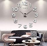 B&H Wanduhr DIY Moderne 3D Acryl Spiegel Metall Wanduhren Wandtattoo Dekoration fürs Wohnzimmer groß Uhren Style Raum Home Dekorationen Tolles Geschenk