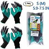 Garten Handschuhe 2 Paar (Linke und Rechte mit Klauen klein/mittelgroß - Größe 6-7.5'), Eiito gartenhandschuhe mit klauen pflanz-und arbeitshandschuhe garten gartenarbeit handschuhe mit graben klauen, garten gloves