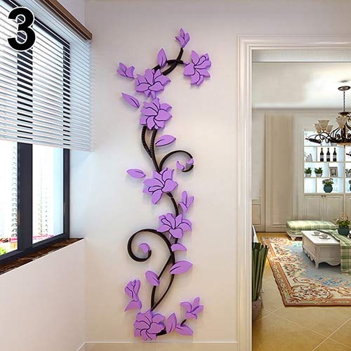 BJIYGF 3D wandaufkleber Home Wohnzimmer Dekoration 3D Blume Abnehmbare DIY Wand Applique Wandaufkleber Tapete WandkunstLila -