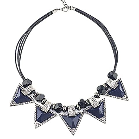 SaySure - Triangle Resin Black Beads Rope Chain Cocktail