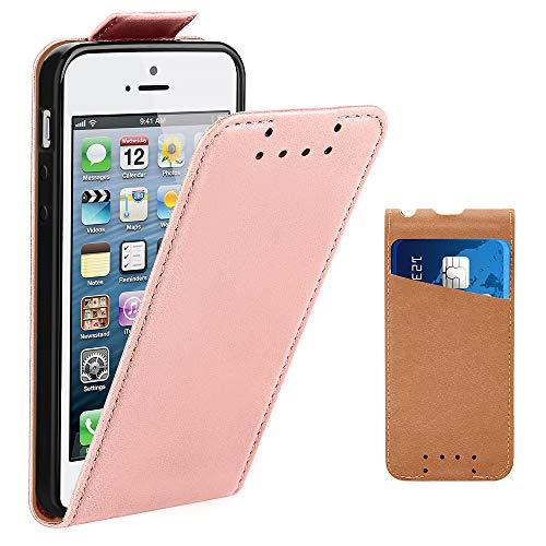 one 5S Hülle, Supad Leder Tasche für Apple iPhone 5 5S SE Handyhülle Flip Case Schutzhülle (Rose Gold) ()